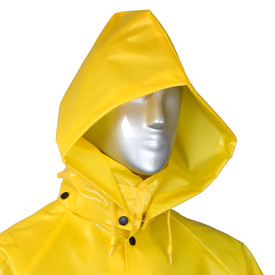 Radians Aquarad 25 Nylon Yellow Detachable Rain Hood - mannequin wearing Radians nylon yellow detachable rain hood with full collar and black buttons for closure..