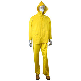 Radians ERW 35 Economy PVC/Poly 3 Piece Yellow Rain Suit - mannequin wearing Radians yellow rain long sleeve jacket with full collar, detachable hood, two side pockets and buttons for closure. Radians yellow rain long pants and brown shoes.