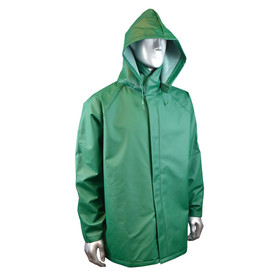 Radians Durarad 42 PVC/Poly Green Rain Full Jacket - mannequin wearing Radians green rain long sleeve jacket with detachable hood and full collar.