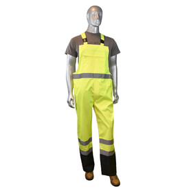 Radians Class E Expandable Hi-Viz Rain Bib Overall - High visibility yellow and black rain overalls with reflective strips on waist and knees