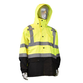 Radians Class 3 Hi-Viz Rain Jacket and Bib Pants - High visibility yellow and black rain jacket with reflective strips on chest, shoulders, and arms
