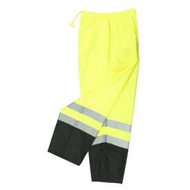 Radians Class E Elastic Waist Hi-Viz Rain Pants - High visibility yellow and black elastic waist rain pants with reflective strips