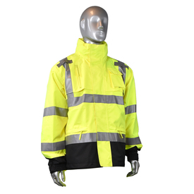Radians Class 3 Hi-Viz Ripstop Zipper Front Rain Jacket - High visibility yellow and black rain jacket with front zipper, buttoned flap, and reflective strips on chest, shoulders, and arms