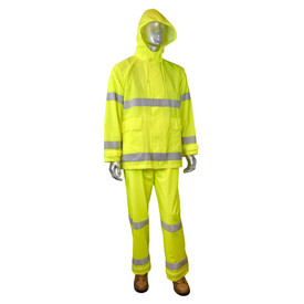 Radians Fortress 20 Class 3 Hi-Viz 2 Piece Rain Suit - mannequin wearing Radians yellow hi-visibility rainwear hooded jacket with grey reflective stripes on arms, chest and waist. Radians yellow hi-visibility rainwear safety long pants with grey reflective stripes on ankles area and brown shoes.