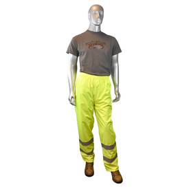 Radians Class E Hi-Viz Lightweight Rain Pants - Yellow high visibility rain pants with reflective strips on shins and elastic waist