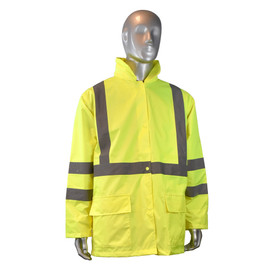Radians ANSI Class 3 Rain Jacket And Pants - High visibility yellow rain jacket with front pockets and reflective strips on shoulders, arms, and chest