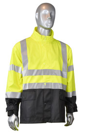 Radians Fortress 35 Class 3 Hi-Viz Rain Jacket - mannequin wearing Radians black and yellow hi-visibility rainwear safety collar jacket with grey reflective tape on shoulders, arms and chest.