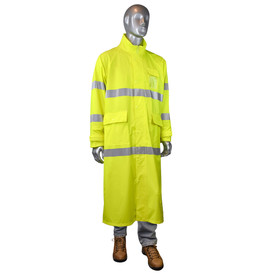 Radians Fortress 35 Class 3 Hi-Viz Long Rain Coat - mannequin wearing denim pants over Radians yellow hi-visibility long sleeves safety rain coat with three front pockets and grey reflective tape on arms, chest and hips and wearing brown shoes.