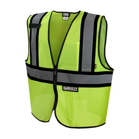 DeWalt Class 2 Hi Viz Economy Mesh Safety Vest - High visibility yellow mesh vest with front zipper and black outlined reflective strips on shoulders and chest