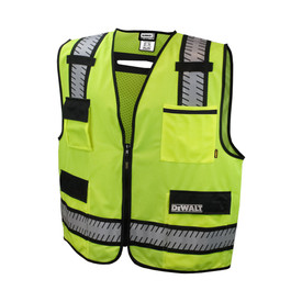 DeWalt Class 2 Green Standard Surveyor Mesh Safety Vest - High visibility mesh yellow vest with front zipper and black outlined reflective strips on shoulders and waist