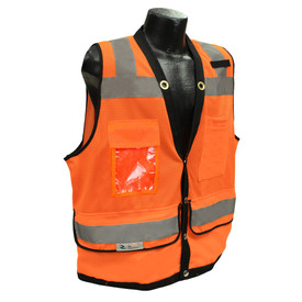 Radians Class 2 Solid Mesh Heavy Duty Surveyor Safety Vest - orange hi-visibility safety vest with four front pockets and grey reflective tapes on shoulders to waist and hips.
