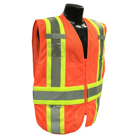 Radians Class 2 Expandable Mesh 2 Tone Safety Vest - orange hi-visibility safety vest with grey reflective tapes with yellow outlined over shoulders, hips and waist.