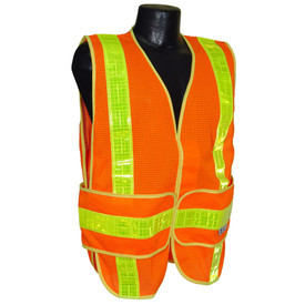 Radians Class 2 Mesh 2 Tone Safety Vest - Made in USA - Orange safety vest with 2 wide yellow reflective tape going down over front from shoulder to waist and 1 wide piece of yellow reflective tape going from side to side on the waist