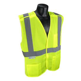Radians Class 2 Mesh X Back Breakaway Safety Vest - Yellow high visibility mesh hook and loop closure safety vest with reflective strips