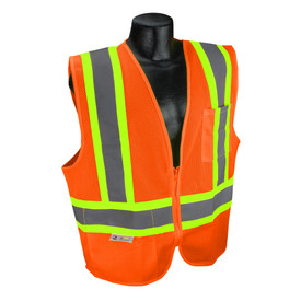 Radians Class 2 Economy Two Tone X Back Safety Vest - orange hi visibility zippered safety vest with grey reflective tapes and yellow outlined over shoulders and waist.