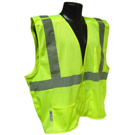 Radians Class 2 Economy Breakaway Mesh Safety Vest - Yellow mesh Velcro vest with front pocket and reflective strips on shoulders and chest