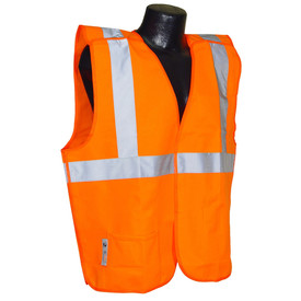 Radians Class 2 Economy Breakaway Solid Safety Vest - Orange high visibility Velcro vest with front pocket and reflective strips on shoulders and chest