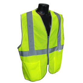 Radians Class 2 Lightweight Mesh Zipper Front Safety Vest - Yellow high visibility front zippered safety work vest with pockets and reflective strips