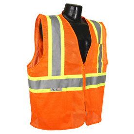 Radians Class 2 Economy 2 Tone Zipper Front Safety Vest - Yellow high visibility mesh safety vest with reflective strips and zipper