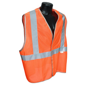 Radians Class 2 Lightweight Mesh Safety Vest - Yellow high visibility front zippered work vest with pockets and reflective strips