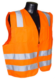 Radians Class 2 Solid Mesh Hook & Loop 6 Pockets Safety Vest - orange hi visibility zippered safety vest with two front pockets and grey reflective tape on shoulders and hips.
