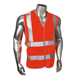 Radians Class 2 Standard Hook & Loop Orange Safety Vest - orange hi visibility zippered safety vest with grey reflective tape on shoulders and hips.