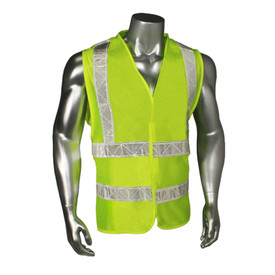 Radians Class 2 Hook & Loop Safety Vest Made in USA - yellow hi visibility zippered safety vest with grey reflective tape on shoulders and hips.