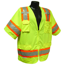 Radians Class 3 Surveyor Solid Mesh Safety Vest - Front zippered yellow high visibility cover short sleeve shirt with front pocket and orange outlined reflective strips