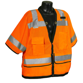 Radians Class 3 Heavy Duty Tablet Pocket Safety Vest - High visibility yellow mesh work vest with reflective strips around sleeves and shoulders