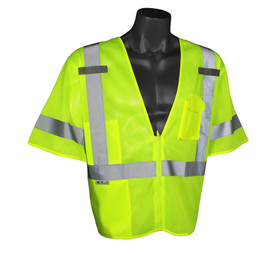 Radians Class 3 Economy Mesh Front Zipper Safety Vest - Yellow high visibility front zippered vest with short sleeves and reflective strips