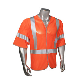Radians Class 3 Standard Mesh Hook & Loop Safety Vest - orange hi visibility zippered safety short sleeve jacket with grey reflective tape on shoulders, arms and hips.