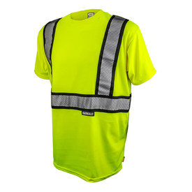 DeWalt Class 2 FR CAT 2 Hi-Viz Short Sleeve T-Shirt - Yellow high visibility short sleeve shirt with reflective strips around shoulders and torso
