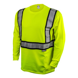 DeWalt Class 2 FR CAT 2 Hi-Viz Long Sleeve T-Shirt - High visibility yellow mesh safety work long sleeve shirt with front zipper and reflective strips