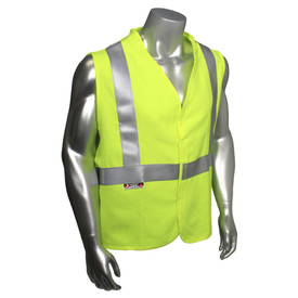 Radians Class 2 FR Modacrylic Safety Vest Made in USA - Yellow high visibility safety vest with reflective strips and hook and loop closure
