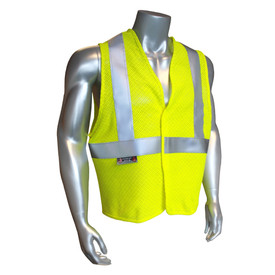Radians Class 2 FR Anti-Static Modacrylic Safety Vest - Yellow high visibility safety vest with reflective strips and hook and loop closure