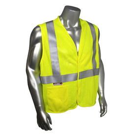 Radians Class 2 FR Mesh Modacrylic Safety Vest - Yellow high visibility mesh safety vest with front pockets and reflective strips