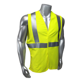 Radians Class 2 FR Jersey Knit Modacrylic Safety Vest - Yellow high visibility safety work vest with reflective strips and hook and loop closure
