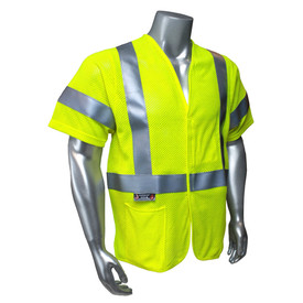 Radians Class 3 FR Modacrylic Premium Mesh Safety Vest - Yellow high visibility safety short sleeve shirt with reflective strips and front pockets