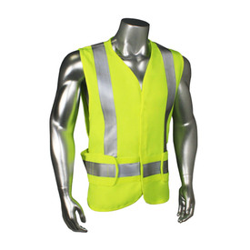 Radians FR Class 2 Adjustable Made in USA Safety Vest - quin wearing Radians yellow hi visibility safety vest with grey reflective tape on shoulders and hips.