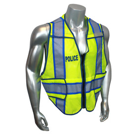 Radians Class 2 Standard Police Breakaway Safety Vest - quin wearing Radians yellow hi visibility zippered safety vest with grey reflective tape and blue outlined on shoulders and hips.