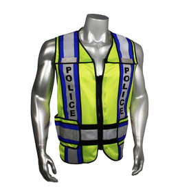 "Radians Class 2 Fire Police EMS 4 Inch Contrast Safety Vest - quin wearing Radians yellow hi-visibility zippered safety vest with black outlined and grey reflective tapes with blue outlined on shoulders and hips. Black ""POLICE"" text on reflective tape."