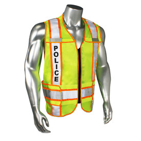 """Radians Class 2 Fire Police EMS 3 Inch Contrast Safety Vest - quin wearing Radians yellow hi-visibility zippered safety vest with orange outlined, and grey reflective tapes on shoulders and hips. Black """"POLICE"""" text on reflective tape."""