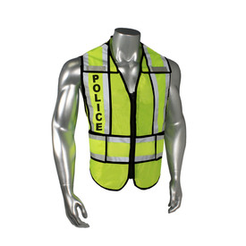"Radians Class 2 Breakaway 1 Inch Split Safety Vest - quin wearing Radians yellow hi-visibility zippered safety vest with black outlined, and grey reflective tapes on shoulders and hips. Black ""POLICE"" text on reflective tape."