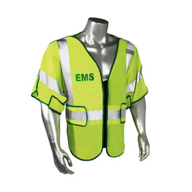 "Radians Class 3 Adjustable Breakaway Police Safety Vest - quin wearing Radians yellow hi-visibility zippered short sleeve police safety vest with green outlined, and grey reflective tapes on shoulders, arms and hips. Green ""EMS"" text at the chest."