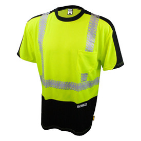 DeWalt Hi Viz Green Short Sleeve Class 2 Mesh T-Shirt - Yellow and black high visibility mesh short sleeve shirt with front pocket and reflective strips on shoulders and chest