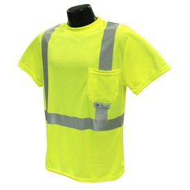 RadWear Class 2 Short Sleeve 1 Pocket T-Shirt - High visibility yellow short sleeve breathable shirt with front pocket and reflective strips on shoulders and torso