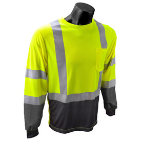 RadWear Class 3 Long Sleeve 2 Tone 1 Pocket T-Shirt - A mannequin wearing Radians yellow and black hi-visibility long sleeve tee shirt with front chest pocket, cuffs and grey reflective tapes on hips, arms and shoulders.