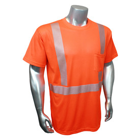RadWear Class 2 Breezelite Short Sleeve Hi-Viz T-Shirt - Radians Yellow high visibility short sleeve athletic shirt with reflective strips around torso and shoulders