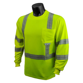 Radians Class 3 UV Long Sleeve Hi-Viz T-Shirt - Bright orange long sleeve shirt with front pocket and reflective strips