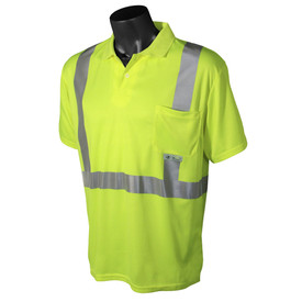 Radians Class 2 Hi-Viz Polyester Mesh Short Sleeve Polo Shirt - Orange collared athletic shirt with front pocket and reflective strips
